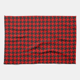 Red And Black Houndstooth Pattern Kitchen Towel