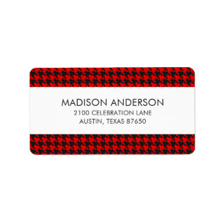 Red And Black Houndstooth Pattern Label