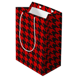 Red And Black Houndstooth Pattern Medium Gift Bag