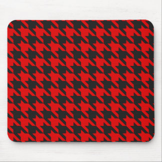 Red And Black Houndstooth Pattern Mouse Pad