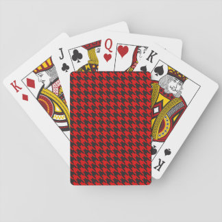 Red And Black Houndstooth Pattern Playing Cards