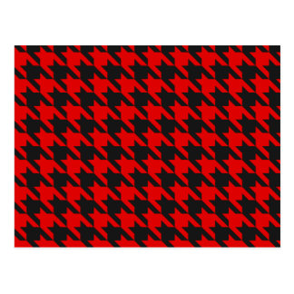 Red And Black Houndstooth Pattern Postcard