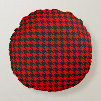 Red And Black Houndstooth Pattern Round Pillow