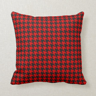 Red And Black Houndstooth Pattern Throw Pillow
