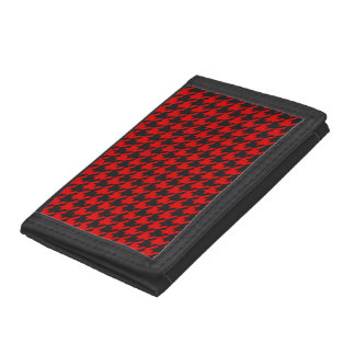 Red And Black Houndstooth Pattern Trifold Wallet