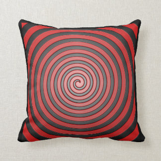 Red and Black Hypnotic Spiral Pillow