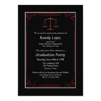 Red and Black Justice Scale Invitation