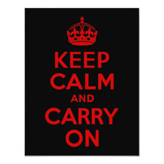 Red and Black Keep Calm and Carry On Card