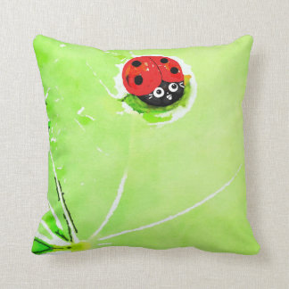 Red and Black Ladybug on green leaf, Throw Pillow
