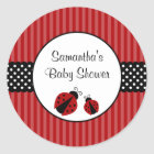 Red and Black Ladybug Striped Dots Baby Shower Classic Round Sticker