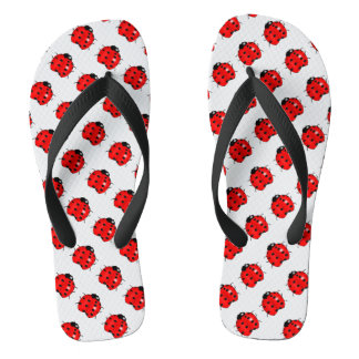 Red and Black Ladybugs Flip Flops