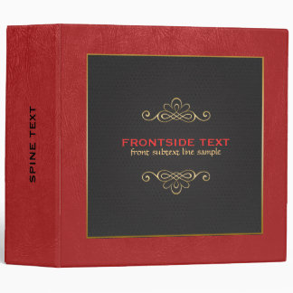 Red and black leather gold accent binder