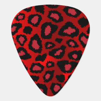 Red And Black Leopard Pattern Guitar Pick