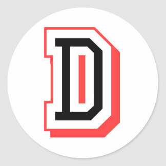 Red and Black Letter D Classic Round Sticker