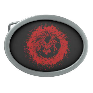 Red and Black Lion Face Oval Belt Buckles