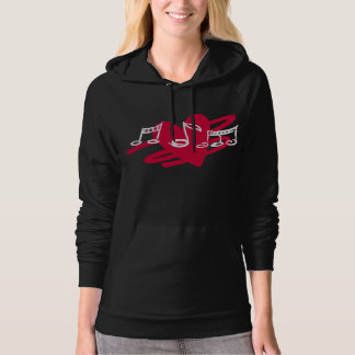 Red and black love music design hoodie