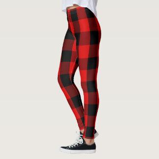 Red and Black Lumberjack Flannel Plaid Pattern Leggings