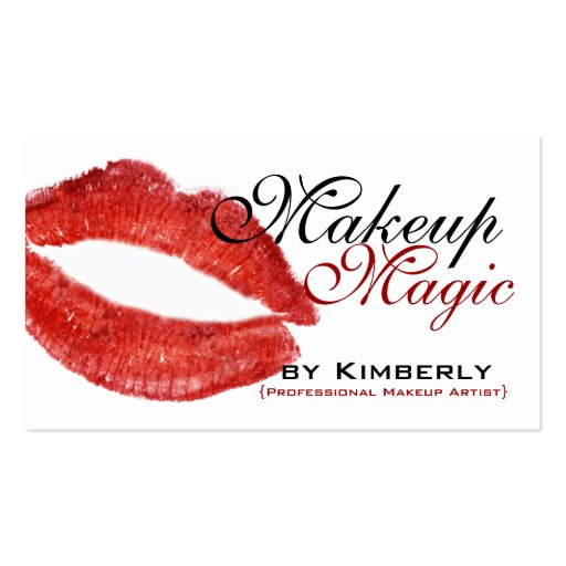 Red and Black Makeup Artist Business Cards