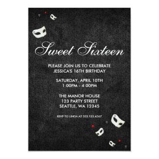 "Red and Black Masquerade Sweet 16 Birthday 5"" X 7"" Invitation Card"