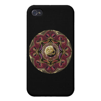 Red and Black Moon Mandala with Yin-Yangs iPhone 4 Covers