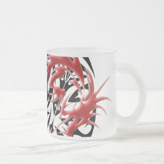 Red and Black Mosaic Dragon Frosted Glass Mug