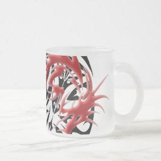 Red and Black Mosaic Dragon Mugs
