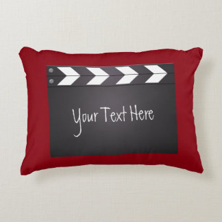 Red And Black Movie Clapperboard Accent Pillow