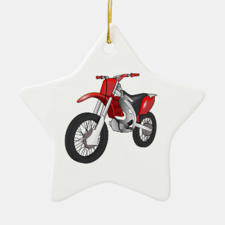 Red and Black Off-Road/Enduro Motorcycle Ceramic Ornament
