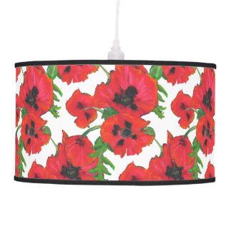 Red and Black Oriental Poppies Pattern on White Ceiling Lamps