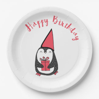Red and Black Penguin Birthday Paper Plate