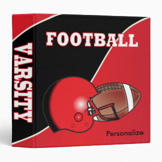 Red and Black Personalize Football Vinyl Binders