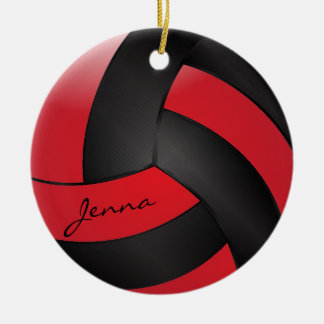Red and Black Personalize Volleyball Double-Sided Ceramic Round Christmas Ornament