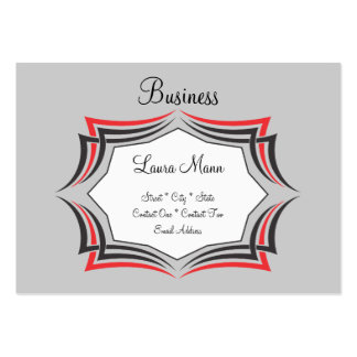 Red and Black Pinstriped Frame Business Card Template