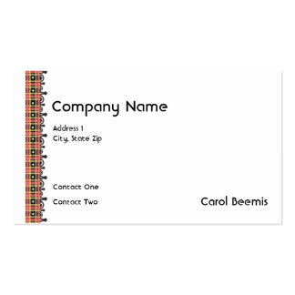 Red and Black Plaid border Business Card Template
