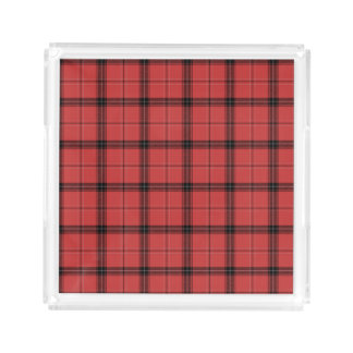 Red and Black Plaid Check Tartan Pattern Acrylic Tray