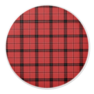 Red and Black Plaid Check Tartan Pattern Ceramic Knob