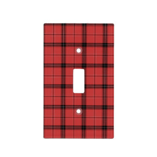 Red and Black Plaid Check Tartan Pattern Light Switch Cover