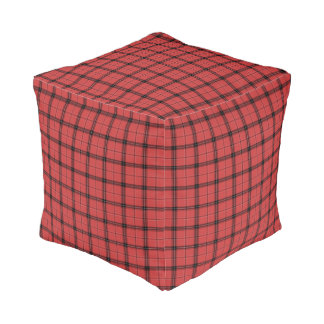 Red and Black Plaid Check Tartan Pattern Pouf