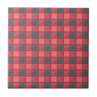 Red and Black Plaid Check Tile