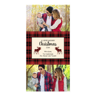 Red and Black Plaid Christmas photo card
