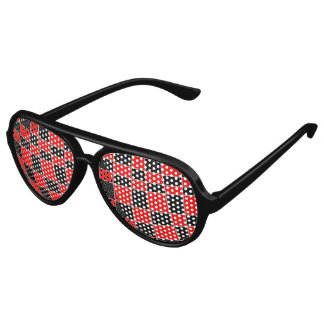 Red and black Plaid customizable Party Shades