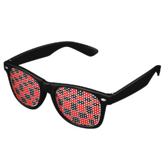 Red and black Plaid customizable Retro Sunglasses