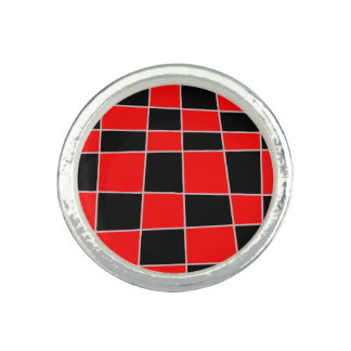 Red and black Plaid customizable Rings