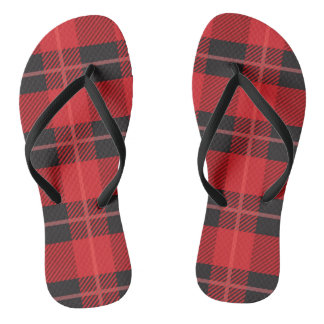 Red and Black Plaid Flip Flops
