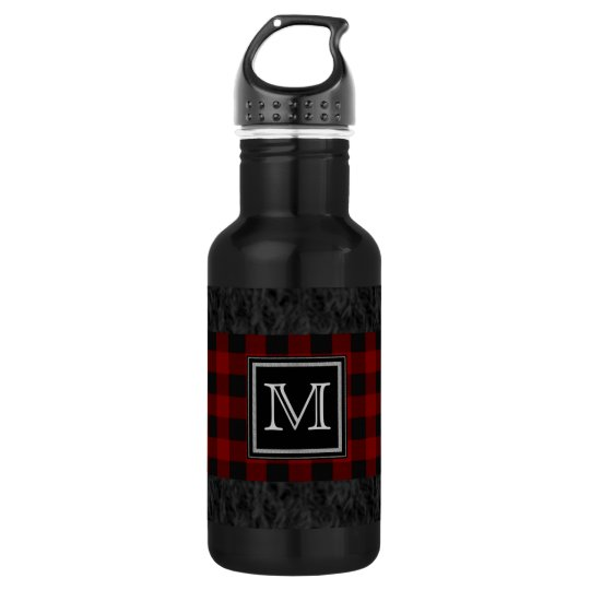 Red and Black Plaid Monogram 532 Ml Water Bottle