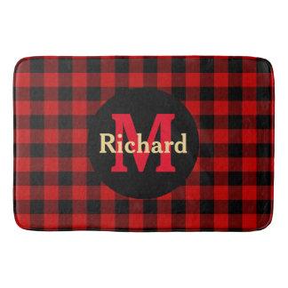 Red and Black Plaid Monogram and Name Bath Mat