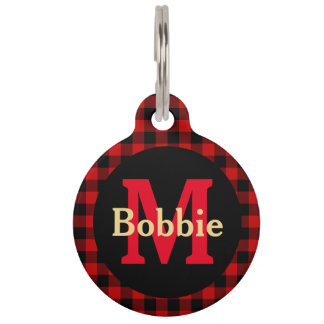 Red and Black Plaid Monogram and Name Pet Tag