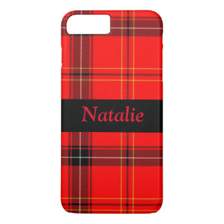 Red and Black Plaid Name iPhone 7 Case