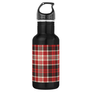 Red and Black Plaid Pattern 532 Ml Water Bottle