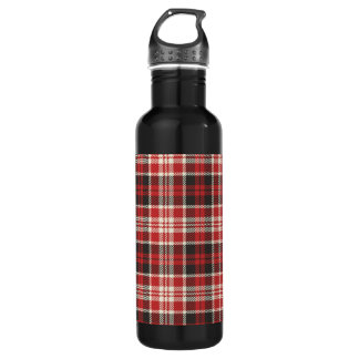 Red and Black Plaid Pattern 710 Ml Water Bottle